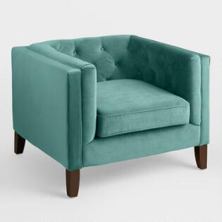 Teal Velvet Kendall Chair. Living Room Furniture Sets and Collections   World Market