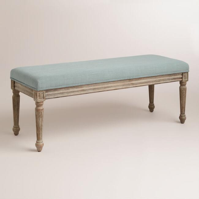Blue Linen Paige Bench
