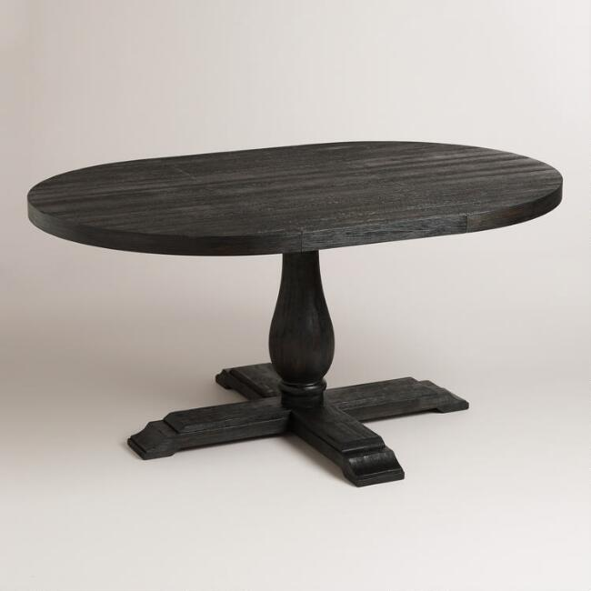 Round to Oval Black Greyson Extension Table