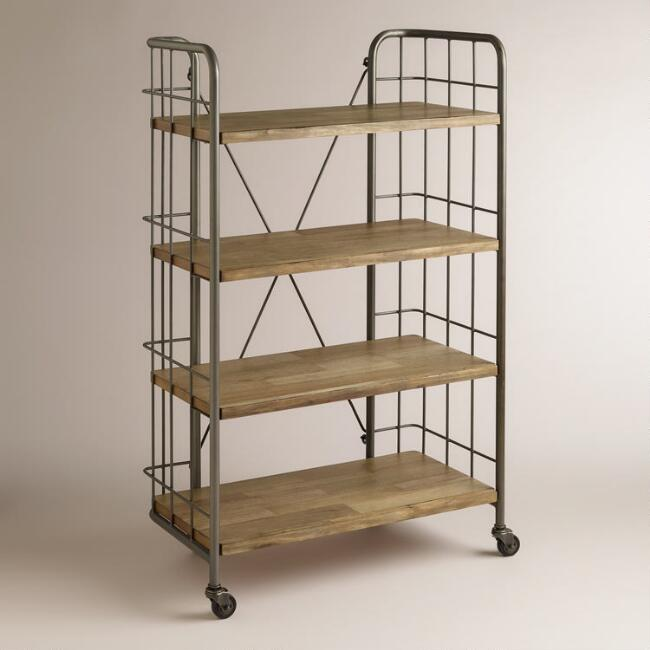 Large Wood and Metal Caiden Cart