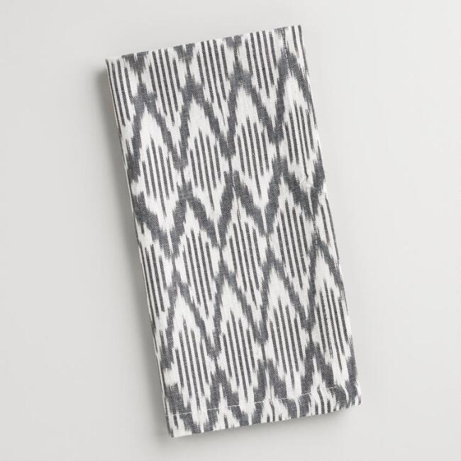 Black and White Ikat Napkins Set of 4