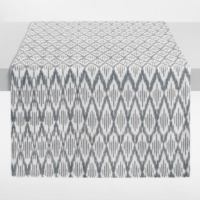 Black and White Ikat Table Runner