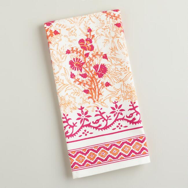 Orange Block Print Kitchen Towel
