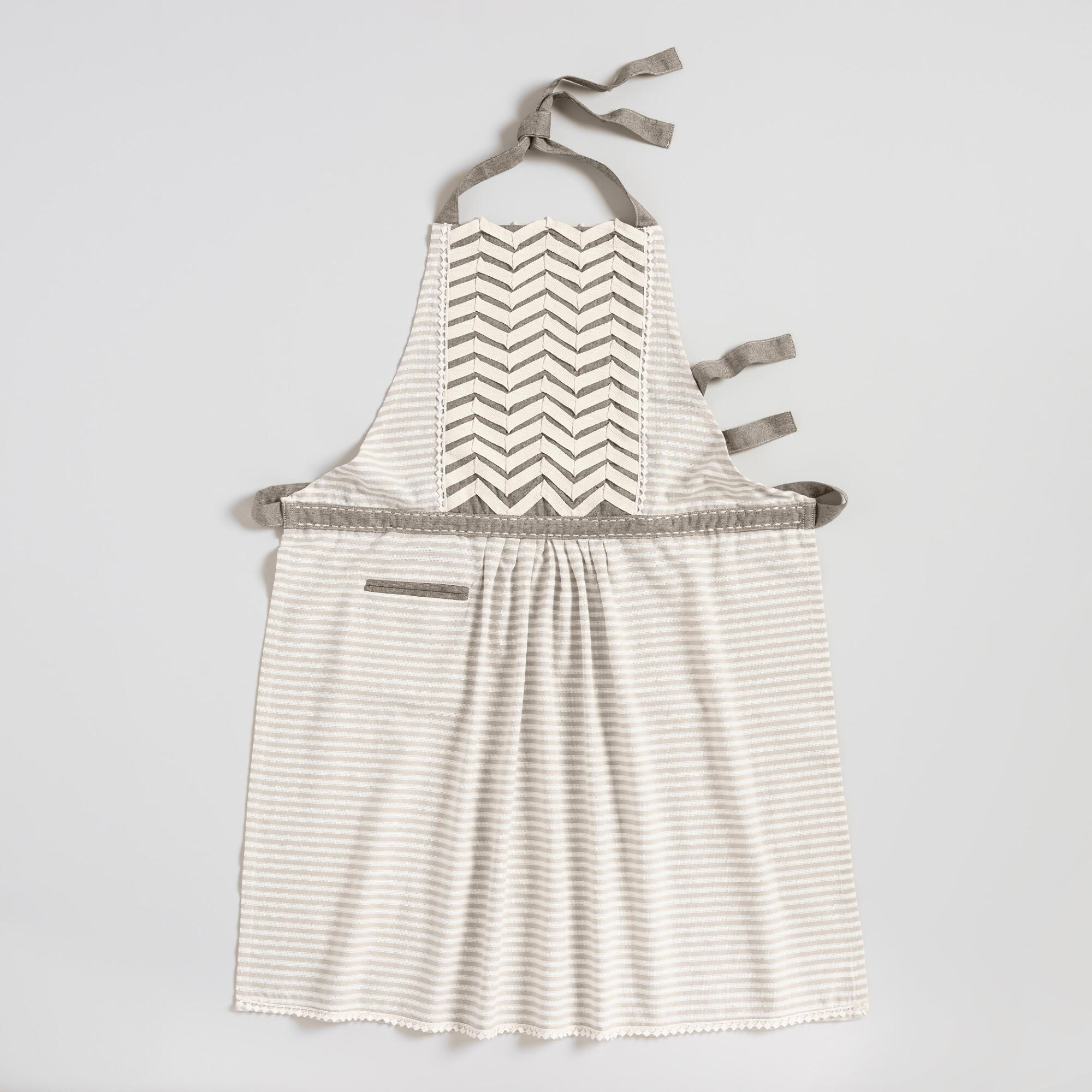 Gray Chevron Striped Twill Apron - Cotton by World Market