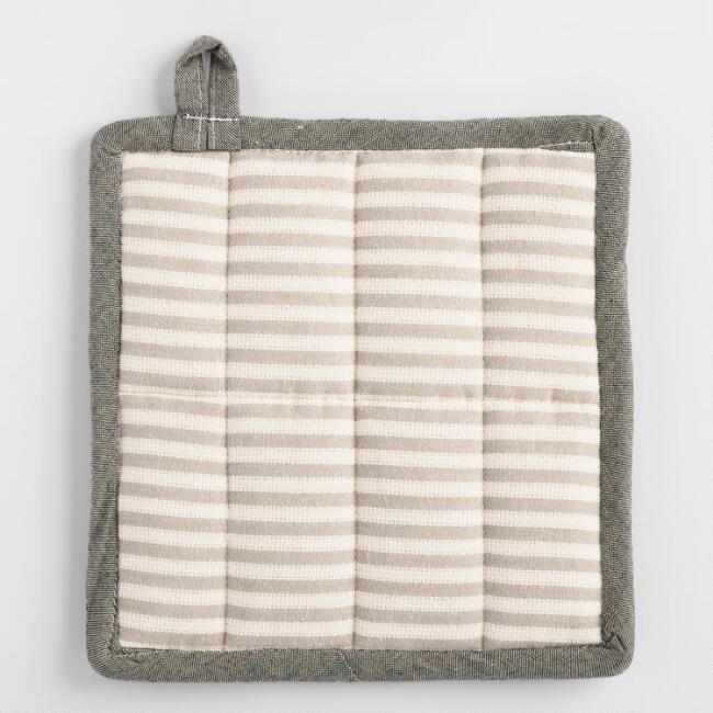 Gray Stripe Twill Potholder
