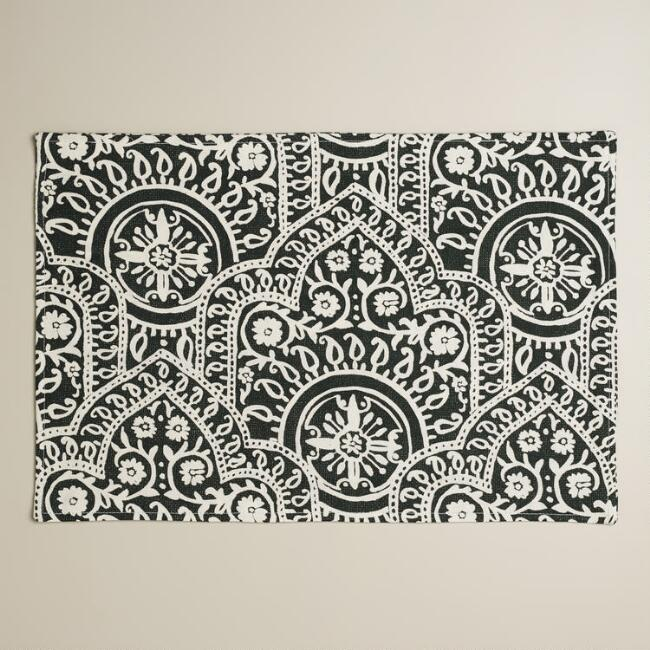 Black and White Rocco Placemats, Set of 4