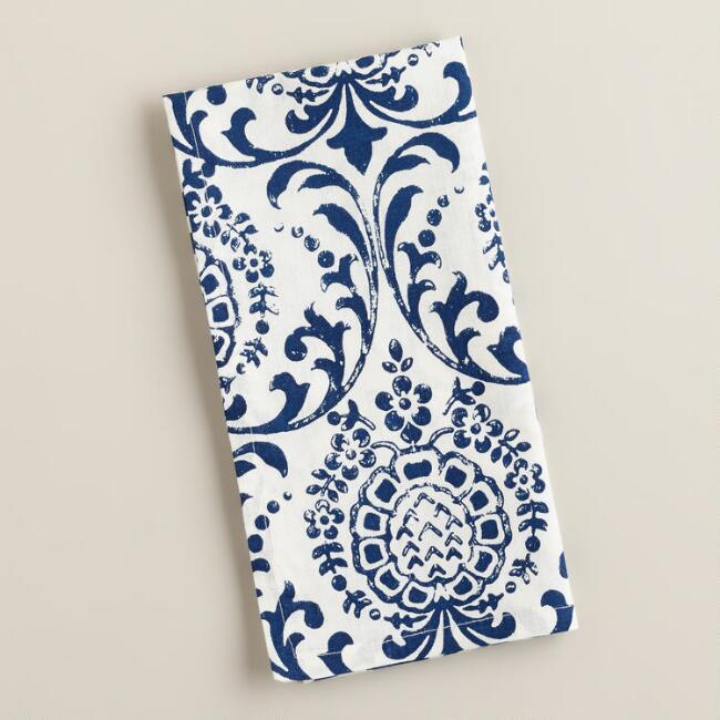 Blue Medallion Block Print Napkins, Set of 4