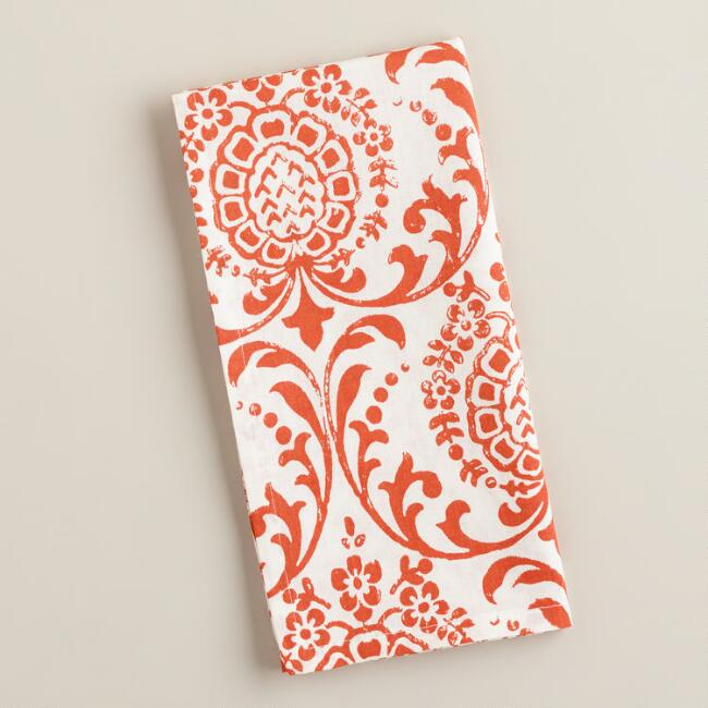 Orange Flame Medallion Block Print Napkins, Set of 4