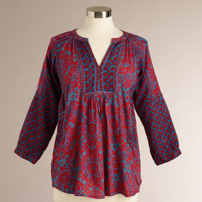 Red Yasmine Mosaic Print Top