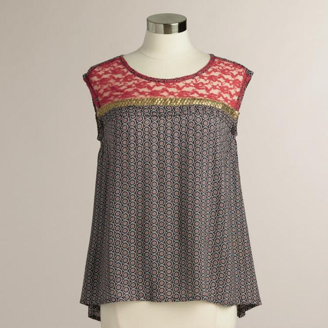 Multicolored Phoebe Lace Sequin Top