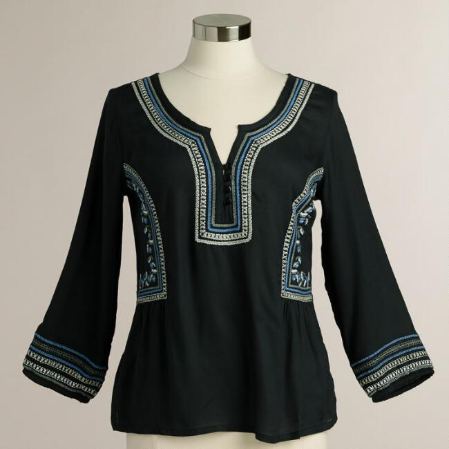 Gray and Blue Celisse Embroidery Top