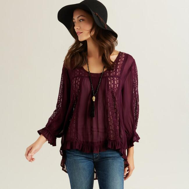 Wine Isabella Lace Long Sleeve Top