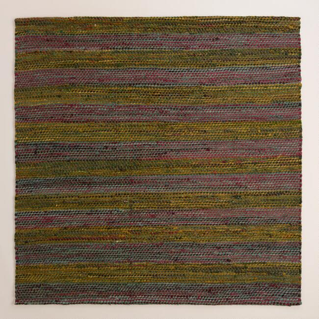 6' Square Sadie Urban Stripe Chindi Area Rug