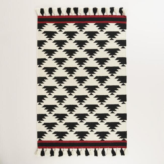4'x6' Black and White Kaia Flatweave Wool Area Rug