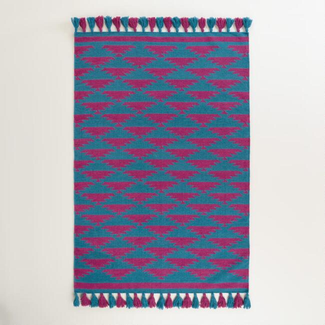 4'x6' Blue and Pink Kaia Flatweave Wool Area Rug