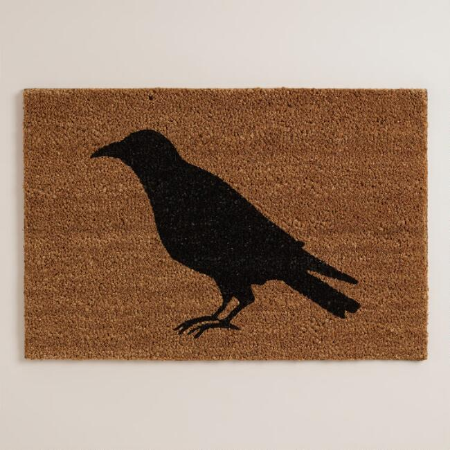 Black Crow Halloween Doormat