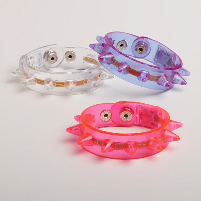 Flashing Spikey Bracelets, Set of 3