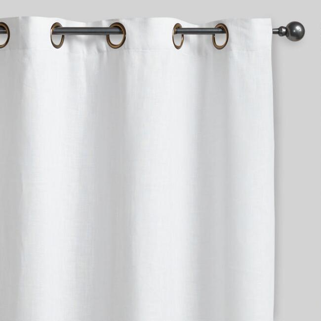 White Linen Grommet Top Curtains Set Of 2
