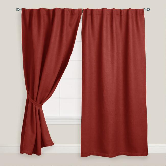 Rust Herringbone Jute Tab Top Curtains, Set of 2