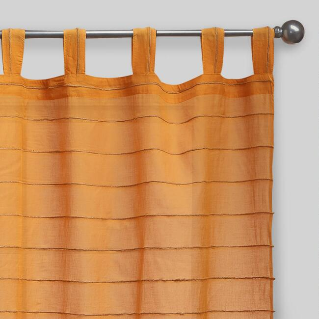 Amber Striped Sahaj Jute Tab Top Curtains, Set of 2