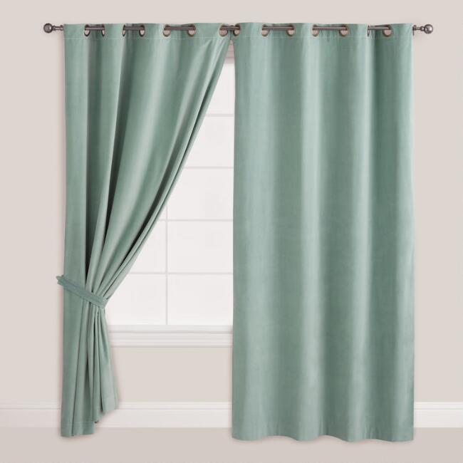 Blue Surf Velvet Grommet Top Curtain