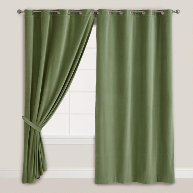 Dark Green Velvet Grommet Top Curtain