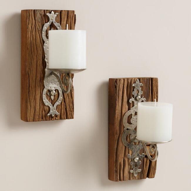 Small Recycled Wood Sconce Candleholders, Set of 2