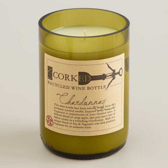 Chardonnay Wine Bottle Filled Candle