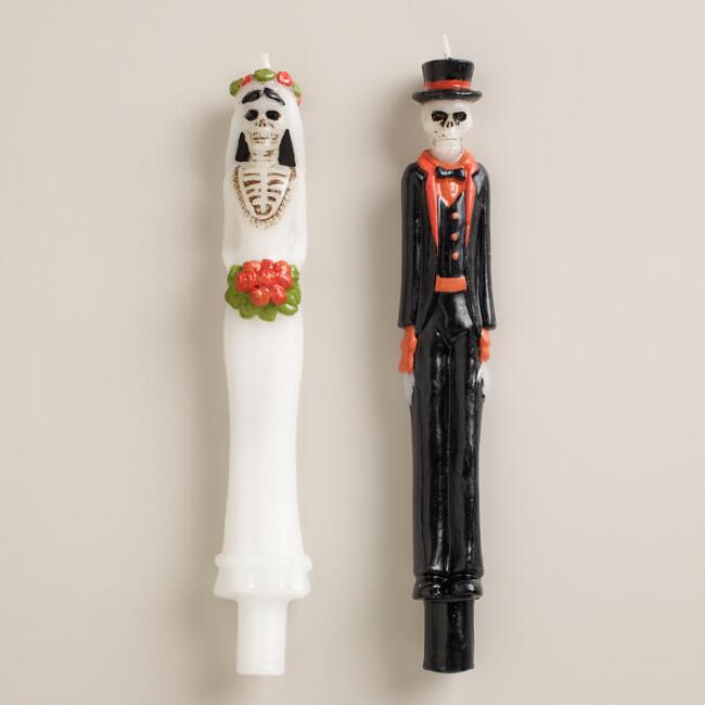 Los Muertos Bride and Groom Taper Candles, Set of 2