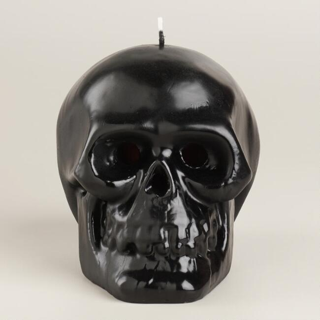 Bleeding Black  Skull Candle