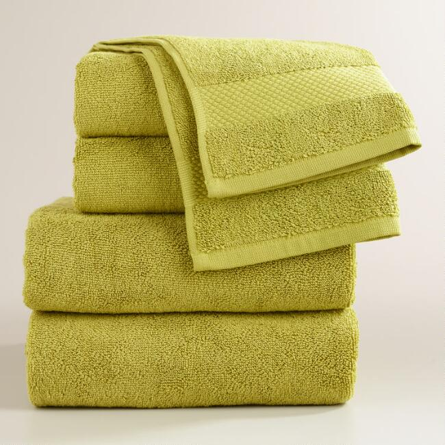 Green Oasis Cotton Bath Towel Collection