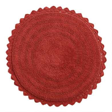 Round Coral Cotton Bath Mat
