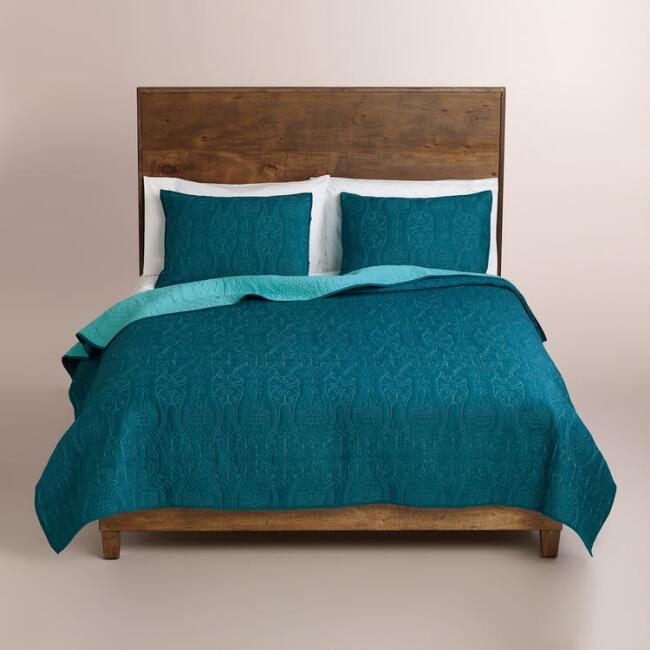 Ink Blue and Aqua Simone Bedding Collection