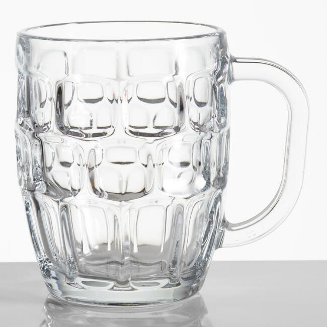 Dimpled Glass Beer Steins, Set of 6