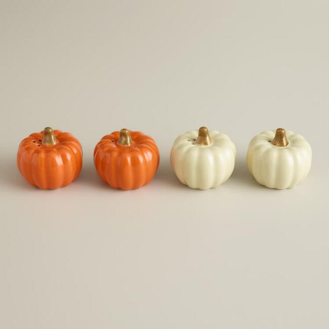 Boxed Pumpkin Salt and Pepper Shakers, Set of 2