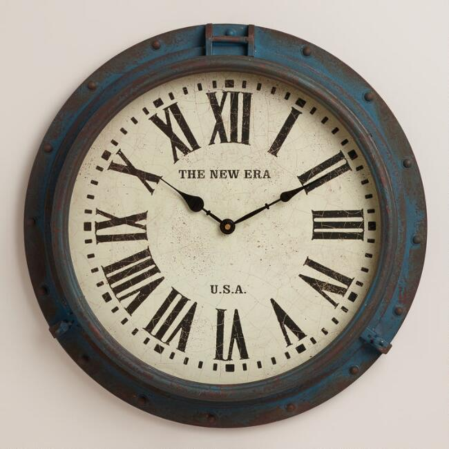 Blue Xander Porthole Wall Clock