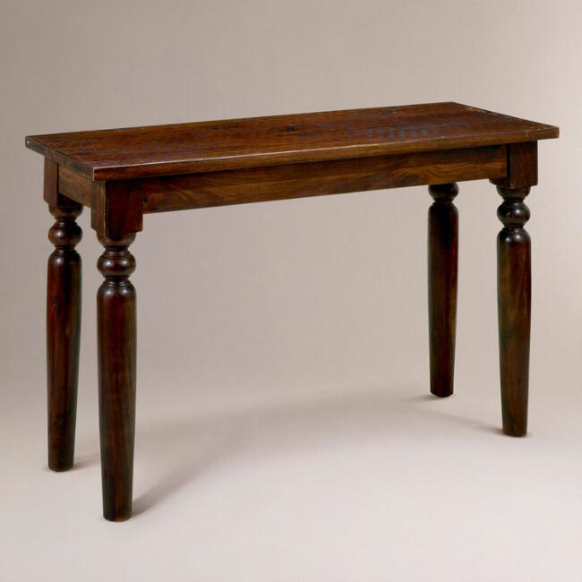 World Market Sofa Table Walnut Brown Wood Ashlyn Bookshelf