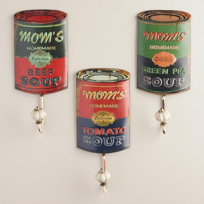 Mom's Soup Can Hooks, Set of 3