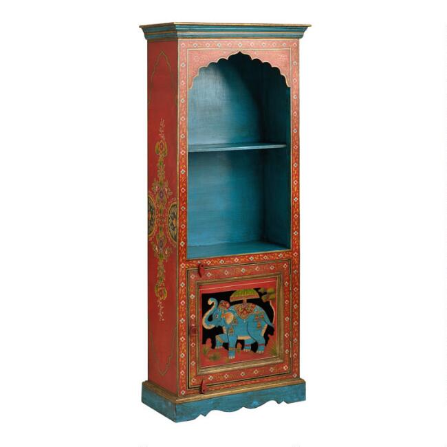Elephant and Floral Motif Painted Wood Bookshelf