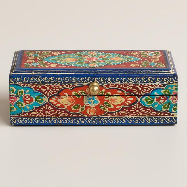Small Hand Painted Multicolored Wood Chest