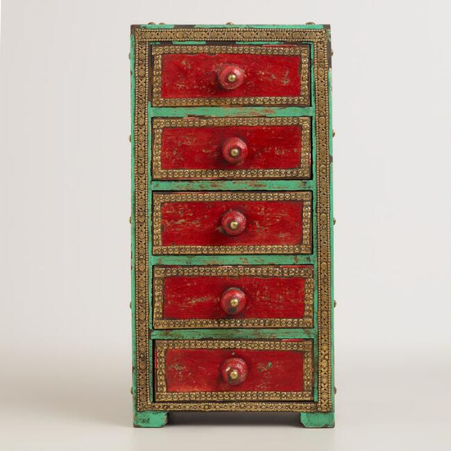 Red and Blue Wooden 5-Drawer Box