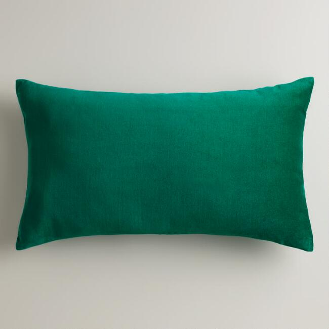 Emerald Green Velvet Lumbar Pillow