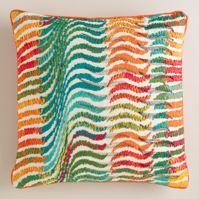Multicolor Wave Throw Pillow