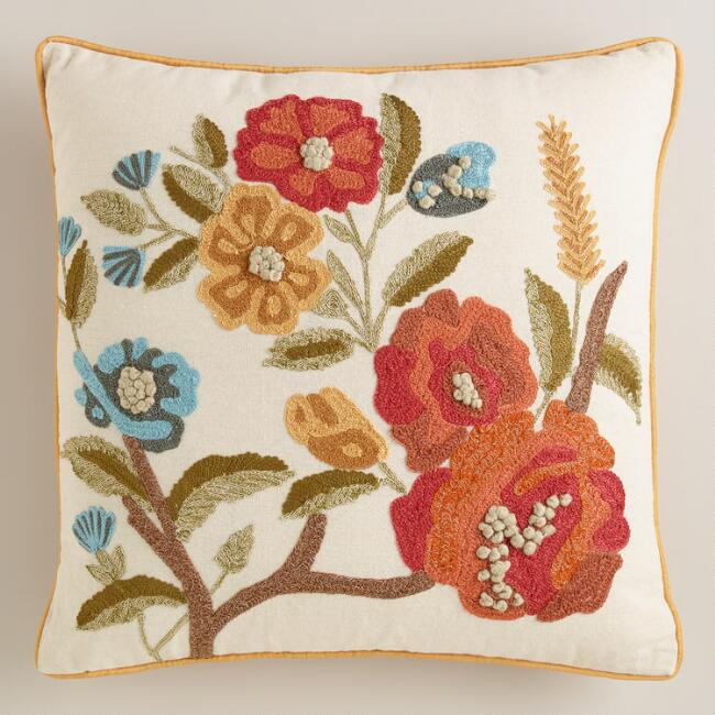 Floral Embroidered Throw Pillow