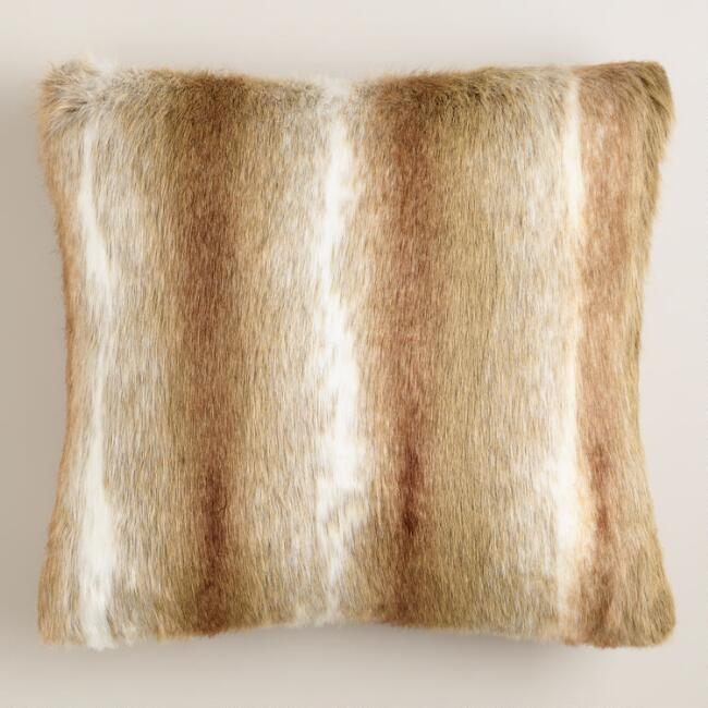 Brown Faux Fur Throw Pillow