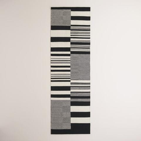 Black And White Stripe Dhurrie Runner Previous V2 V1