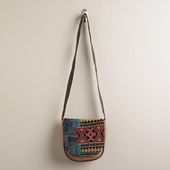 Tan Woven Cross-Body Bag