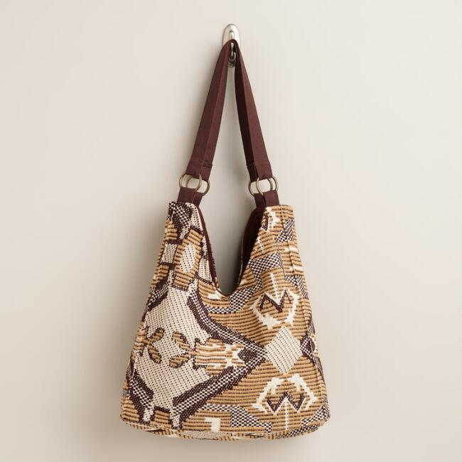 Tan Graphic Hobo Bag