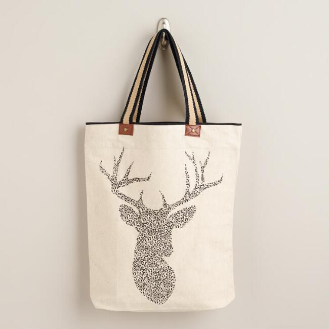 Stag Tote with Striped Handle