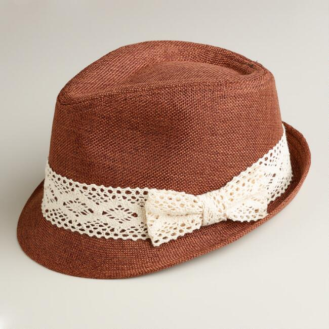 Brown Fedora Hat with Crochet Band